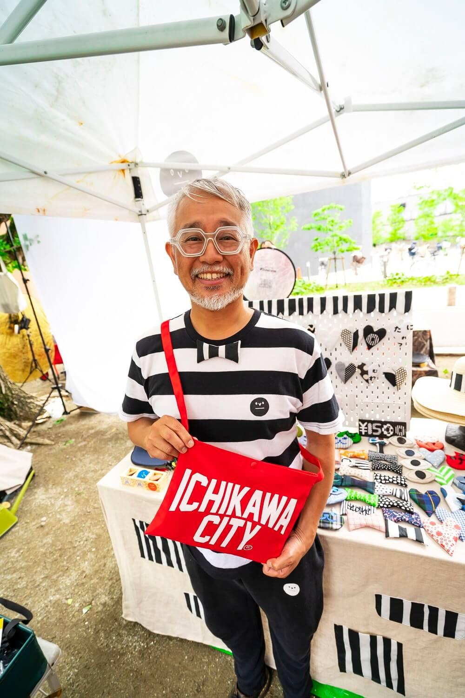 DEPOT 湊 誠也さん。本業はサイクルショップ『DEPOT』店主。ニューボロイチにも出店し、オリジナルのTシャツなどグッズの販売も。