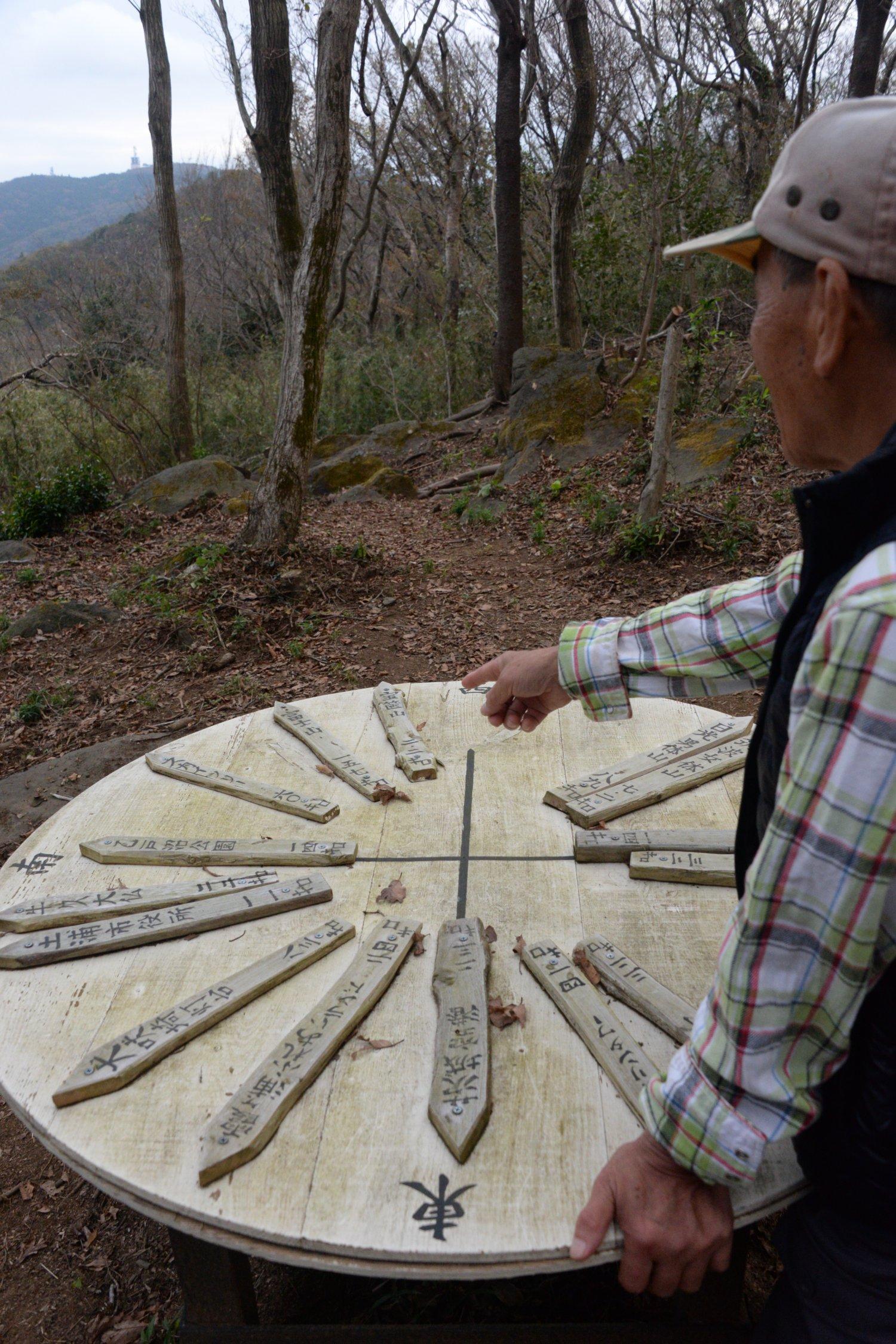 筑波山や関東平野を望む標高361mの山頂。木の方位盤は手作り。