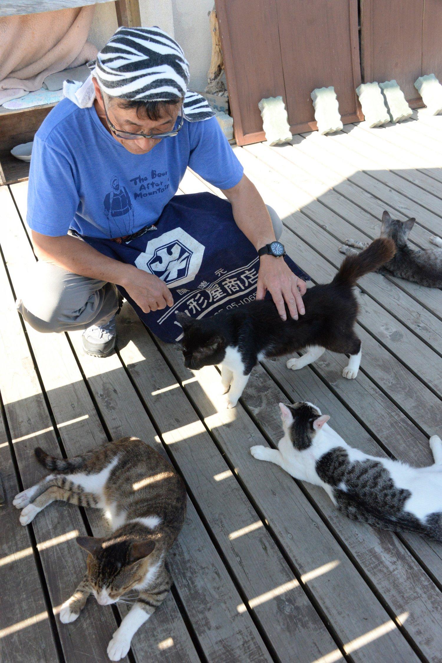 デッキにたむろするネコたちをあやす、共和国理事の渡邉仁悦さん。
