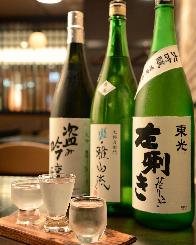 米沢の利き酒セット1280円(税抜)は定番3種で一献。