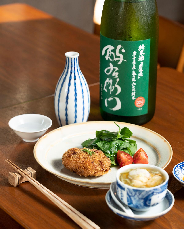 ラムメンチカツ 660円、ハモ出汁で冷たい茶碗蒸し550円、岩手「酉与右衛門」1合803円。