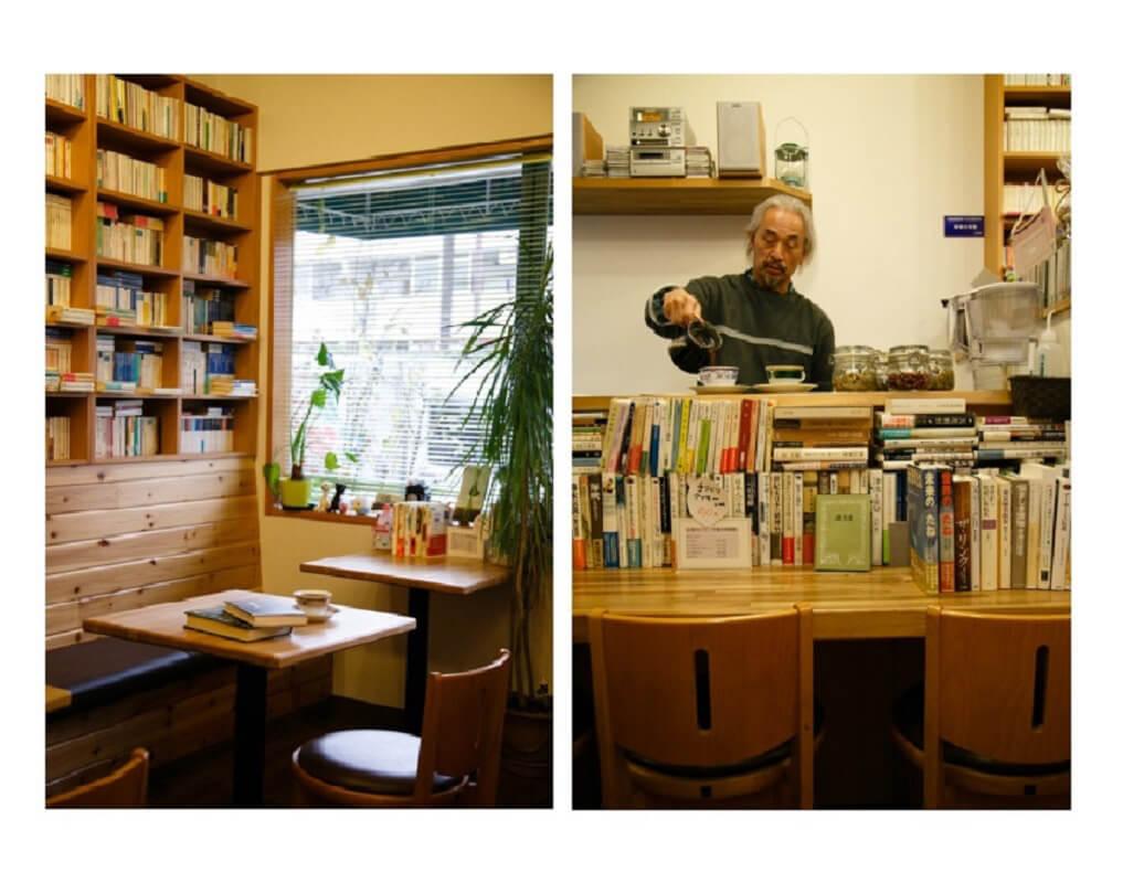 席の背面は文庫の棚。/ 一杯一杯ていねいに淹れていく店主の上田さん。ここではゆっくりと時間が過ぎていく。
