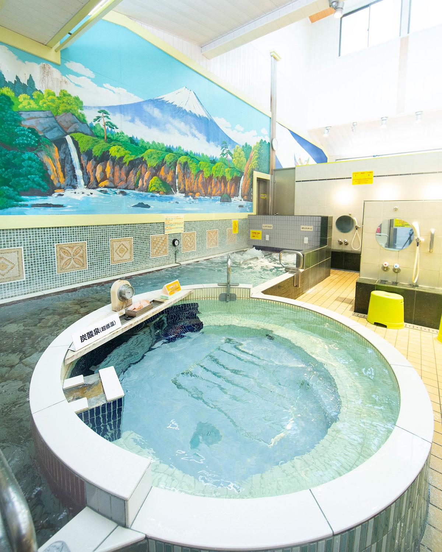 高濃度炭酸泉や石敷き浅風呂など、浴室で風呂の種類が違う。