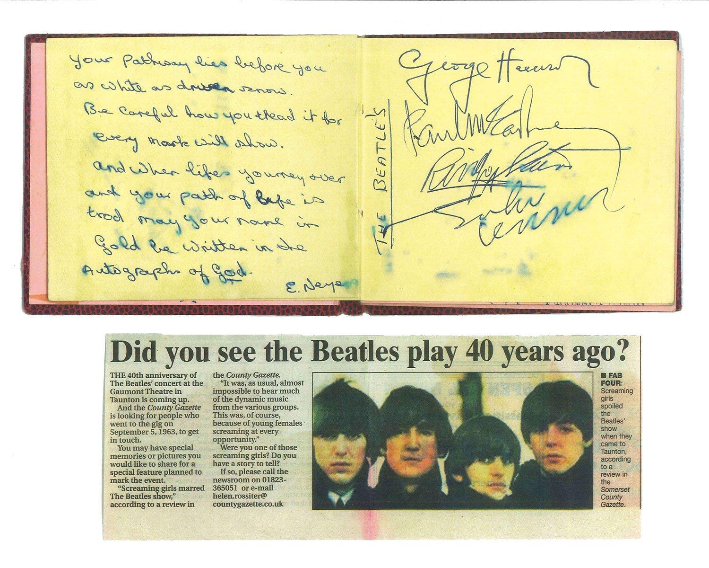 本多さんの鑑定済みである「メンバー4人揃った本物の直筆サイン」(鑑定・保証書付き)は超貴重。これは1963年9月5日、イギリス・トーントンで行われたコンサートの際、ファンの女性がサイン帳にもらったもの。ビートルズ研究所会員特別価格で110万円。