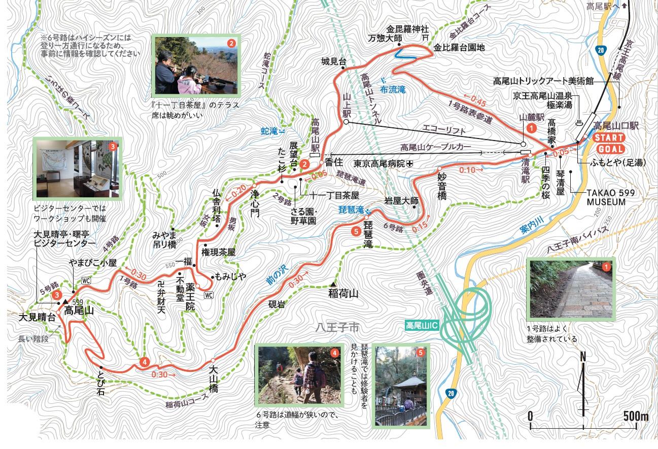 親子で山さんぽ 高尾山MAP