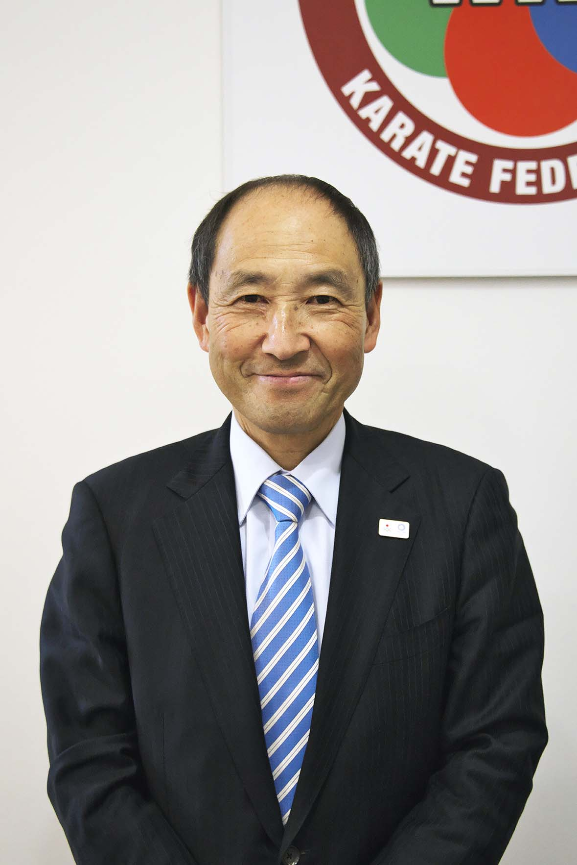 世界空手連盟事務総長の奈藏稔久さん。アメリカや香港など空手普及に努めた。