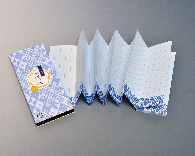 つづり箱蛇腹便箋レターセット。文章の長さに応じてミシン目で切り取り、長さ調整して使うアイデアが秀逸な蛇腹便箋に、文箱として使える紙箱を組み合わせた便利なセット。1100円。