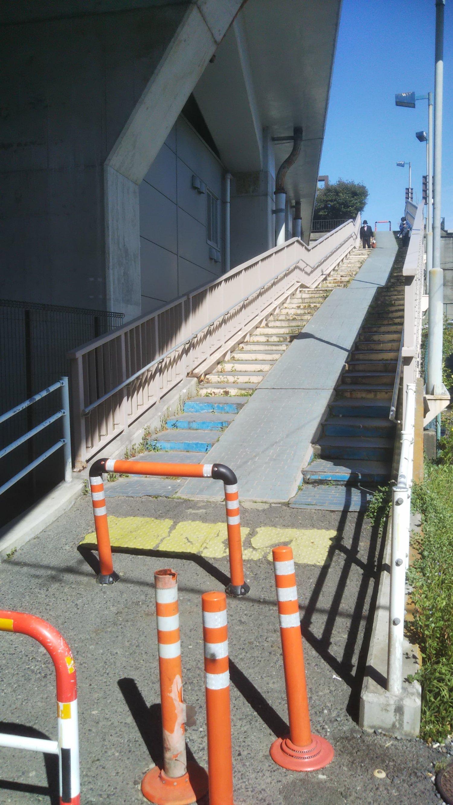 水戸街道は新葛飾橋脇の江戸川土手へ上る階段。作品には登場してないが、寅さんもきっと利用していたハズ。