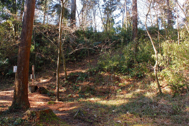 水の口砦内部より。尾根との比高差は数mある。