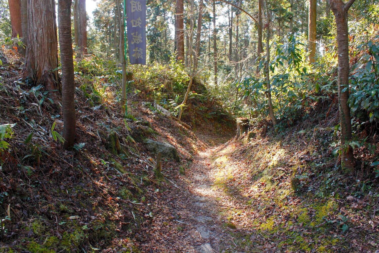 東から南へと伸びる堀底道。