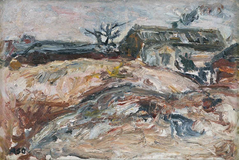 1943年に「新人画会」を結成したのちに麻生が描いた自宅兼アトリエの様子。(麻生三郎 《長崎町のアトリエ》 1944年 油彩、板豊島区蔵)