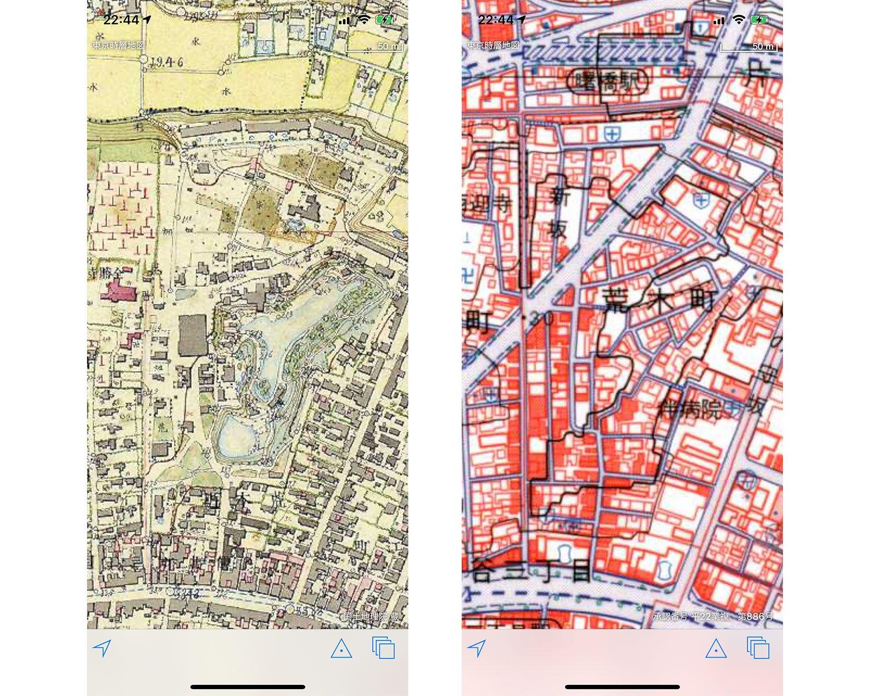 一般財団法人日本地図センターが作成した「東京時層地図」を使用。