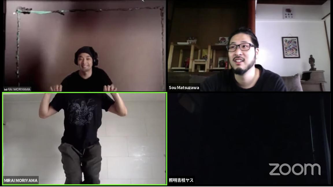 ディベート後の5月9日、森山さん、松澤さん、吉枝康幸さん(照明)による「セッション 8:ZOOM クリエーショントライアル」の様子