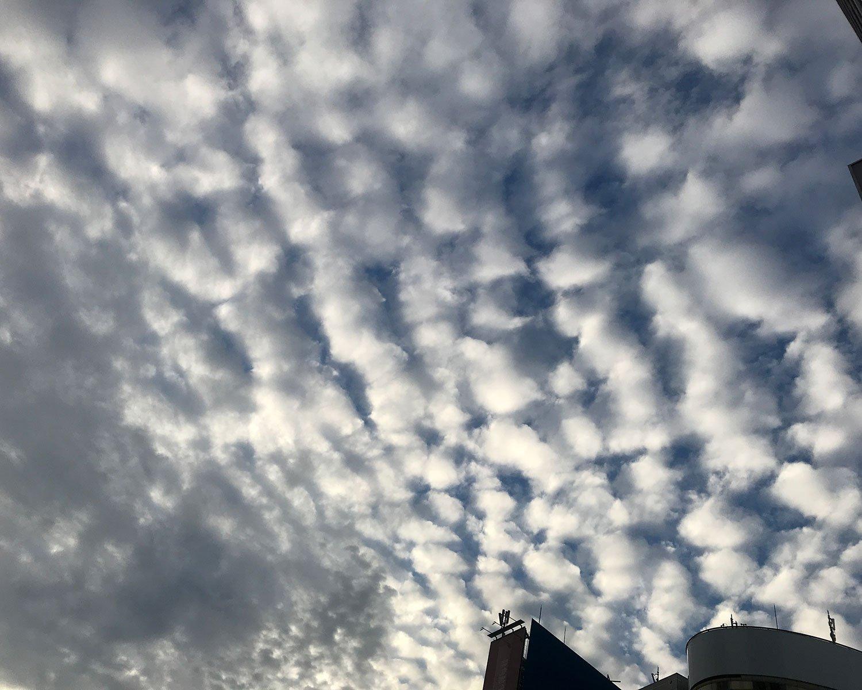 低い空に出る雲で人差し指で隠れないほどの大きさ。天気は下り坂。
