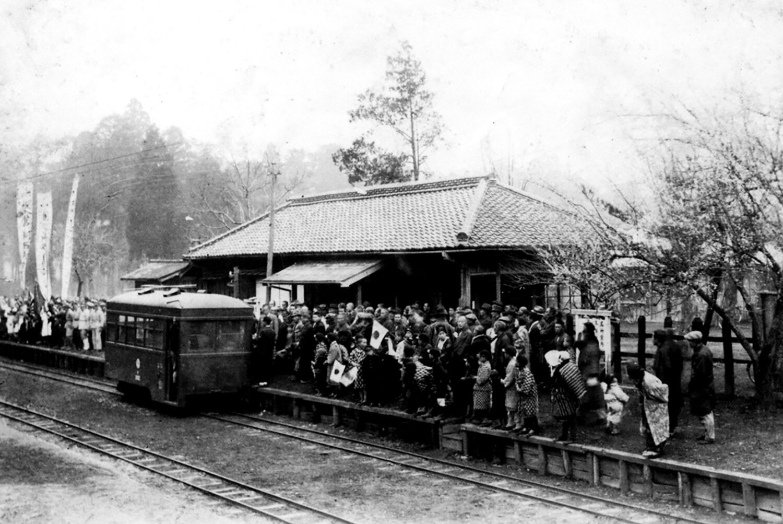 富里十倉郵便局付近にあった富里駅での出征風景。昭和 14年(1939)撮影。