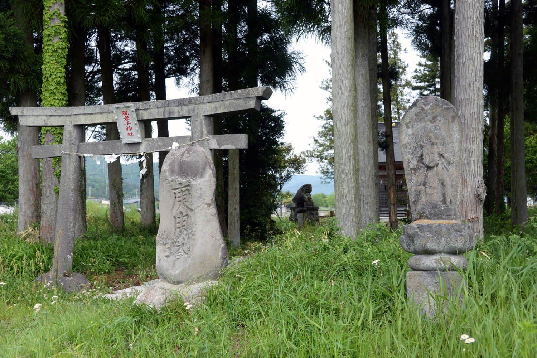 田園にポツンと鎮座。鳥居の脇に二十三夜塔、庚申塔、石仏が並ぶ。