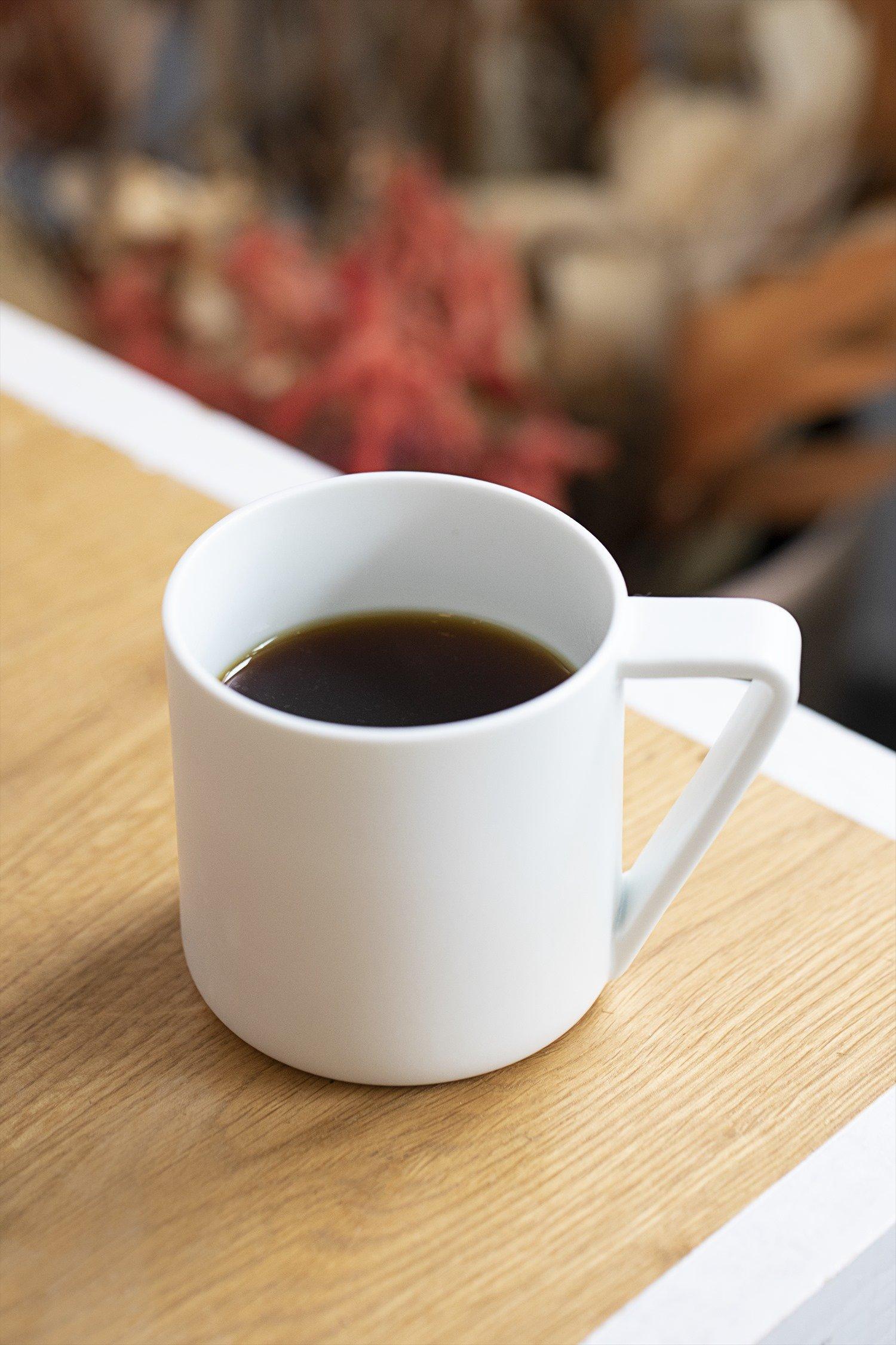 ドリップコーヒー500円。豆はご主人の中田真さんが焙煎、全4種。