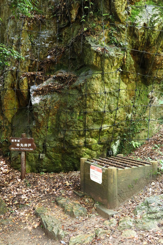本丸井戸。ほぼ垂直の断崖直下にひっそりと。