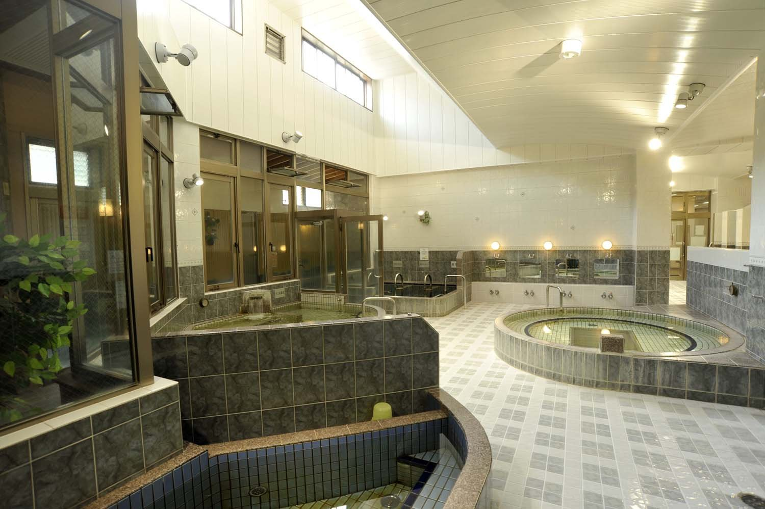 まずはぬる湯の円形浴槽に入ってから、浴槽のはしごを楽しむといい。