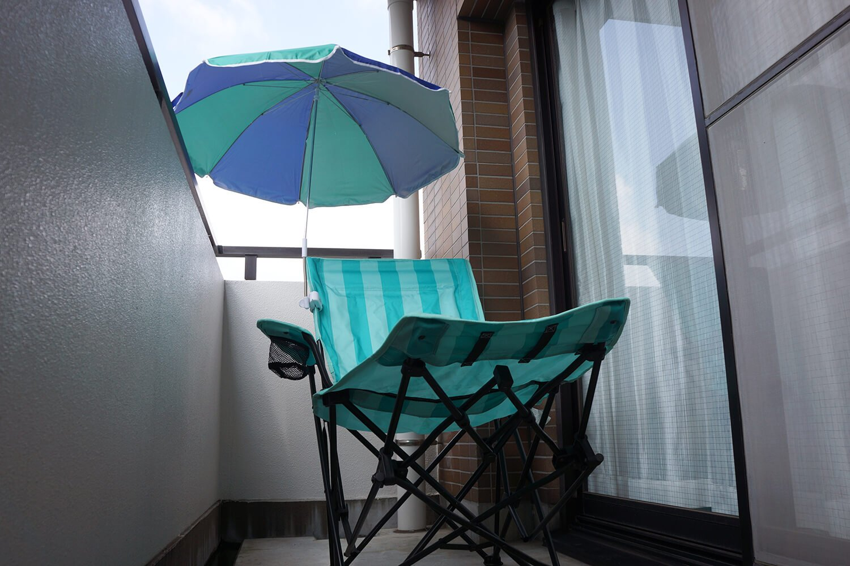 チェア用パラソルと合わせれば、自宅でリゾート気分。