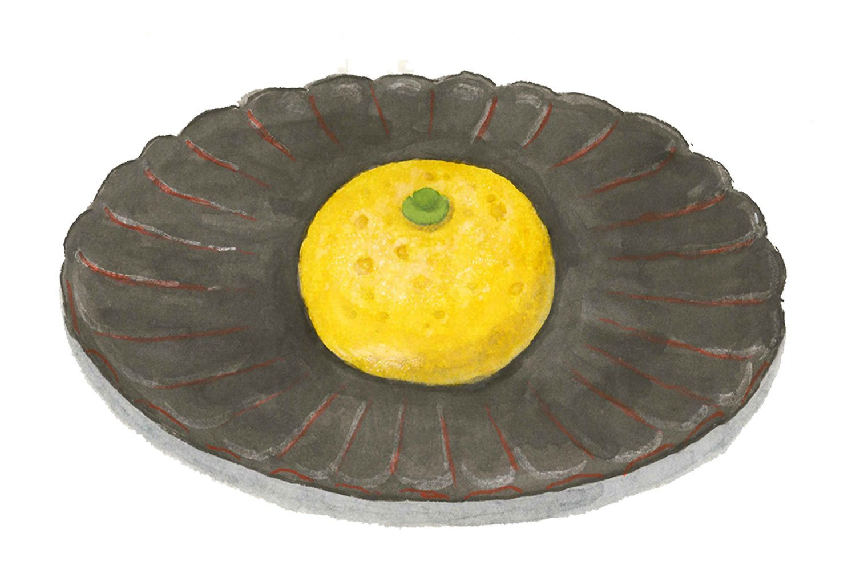 森下さんが描いた『長門』の柚子まんじゅう。