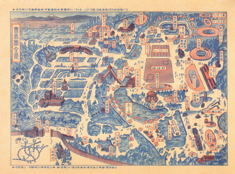 としまえん提供の昭和14年の園内図。当初は石神井川の水を池やプールに利用した。大温室や音楽堂のほか、修学旅行向けの豊島園ホテルや牛肉食堂などがあった時代も。
