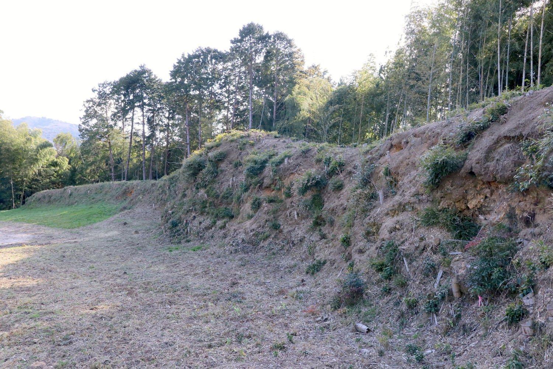 高さ2~3m、全長約130mもある大土塁。