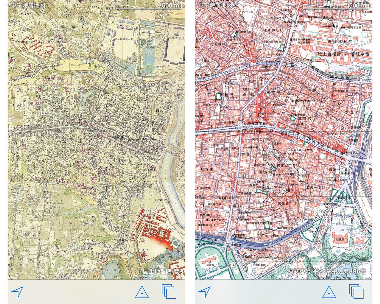 アプリ「東京時層地図」の画面。左が文明開化期、右はバブル期の四谷荒木町。