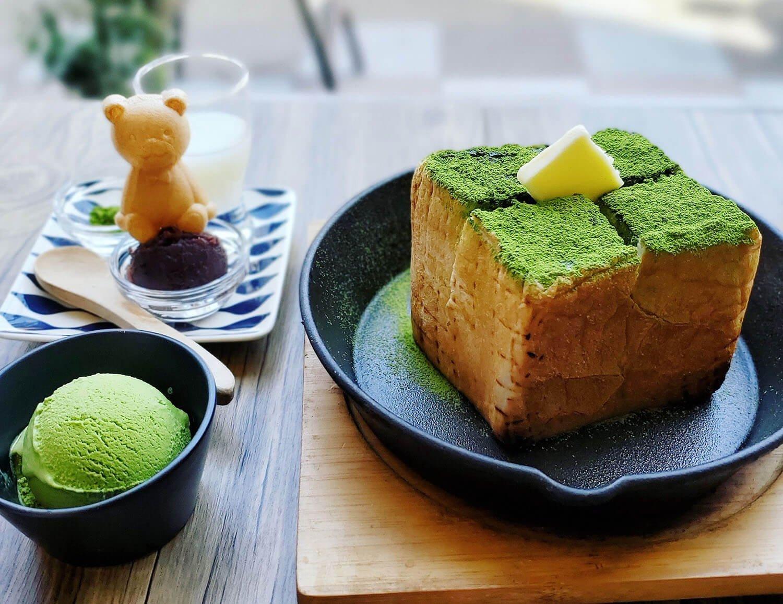 抹茶トーストセット(抹茶付き) 1200円。