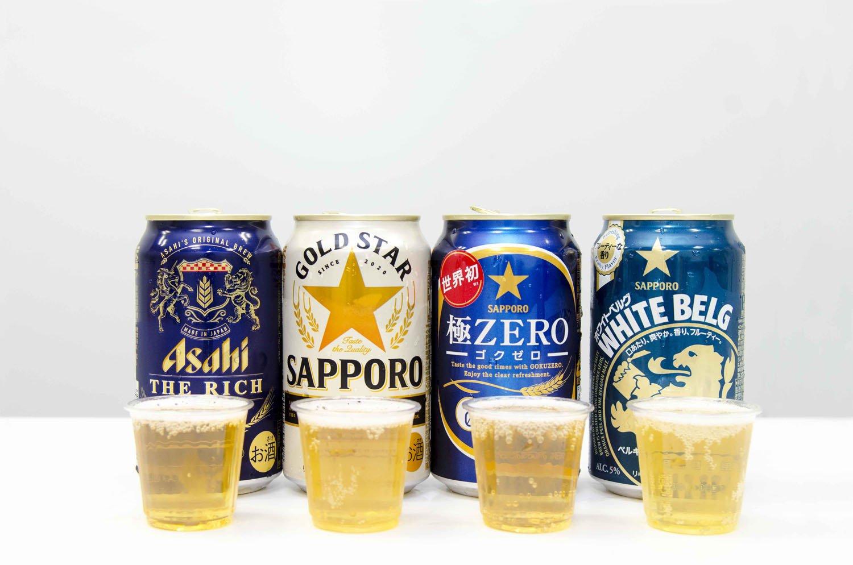 左からアサヒ ザ・リッチ、サッポロ GOLD STAR、サッポロ極ZERO、サッポロ ホワイトベルグ各109円。