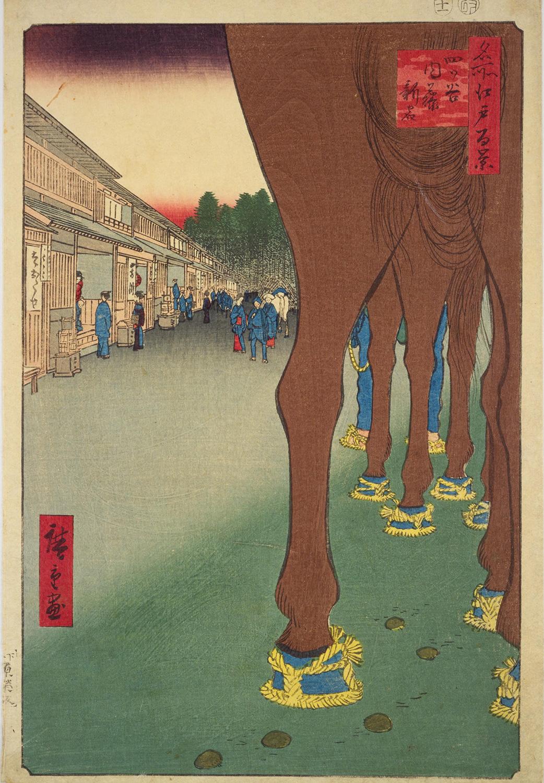 歌川広重の名所江戸百景の『四ツ谷内藤新宿』も題材は馬。足元には馬糞もしっかり描かれている(国立国会図書館デジタルコレクションより)。