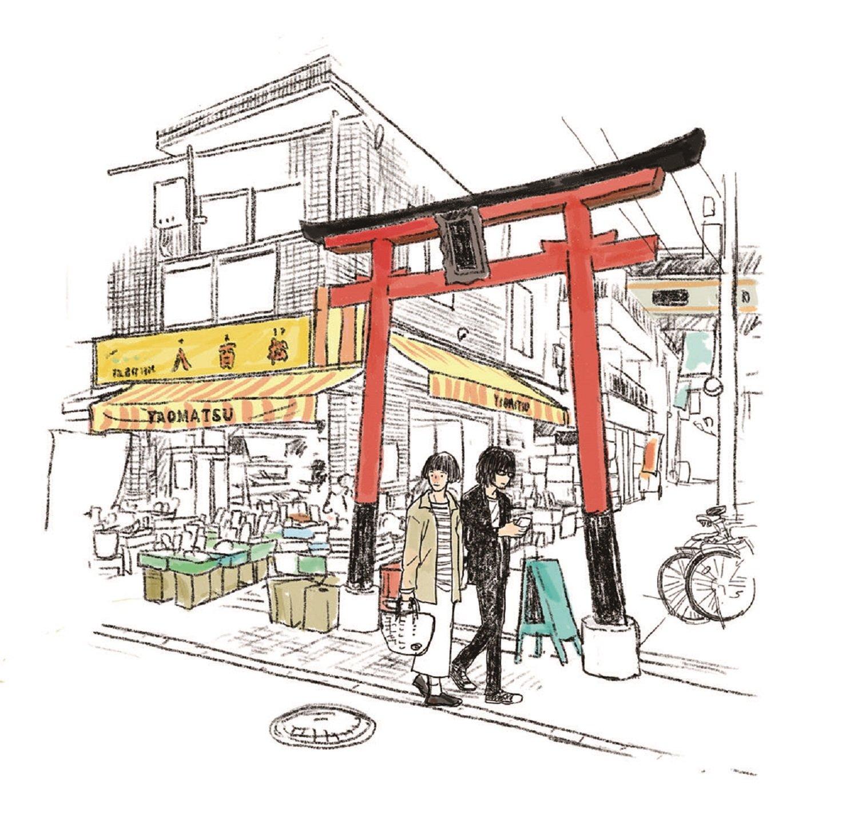 「東京に来るまで個人商店で買い物したことなかったんです。『八百松』さんではぬか漬けをよく買いました。あの鳥居の先にお稲荷さんがちょこんとあるんですよね」(やまだ)
