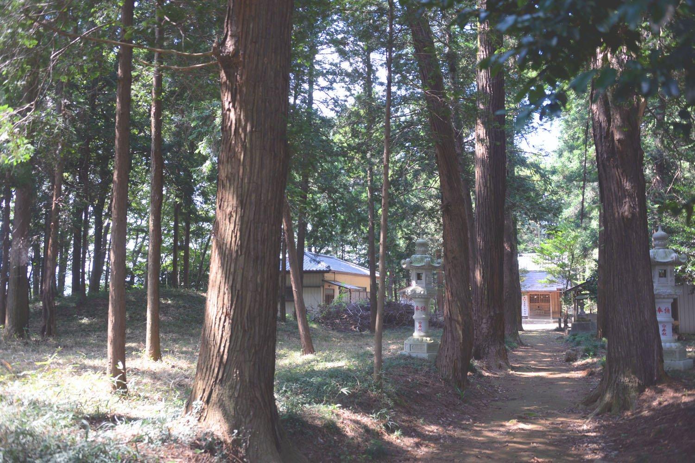 境内を歩くと「八つ墓村」感も少々。左に古墳が一つ見える。