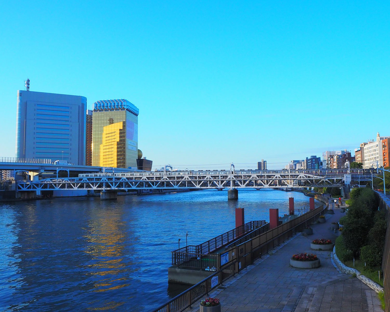 振り返ると、東武鉄道の電車が橋を渡っていた。