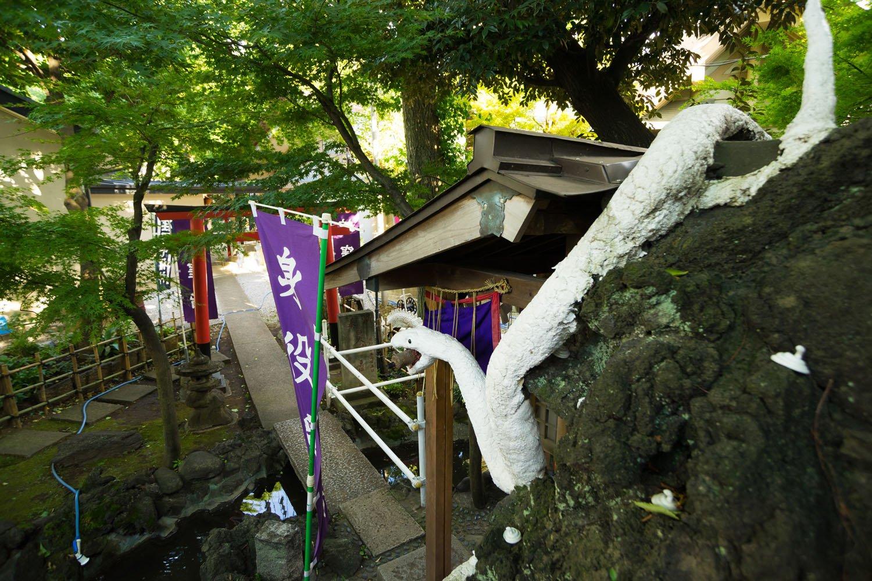 たくさんの白蛇が護(まも)る上神明天祖神社の弁天山。ついでにホースが青蛇のよう。