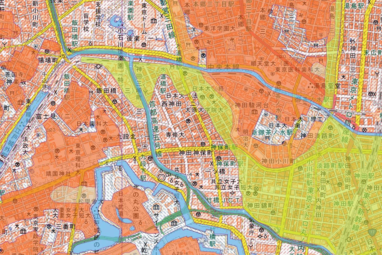 神保町周辺の土地条件図。(国土地理院ウェブサイトより)