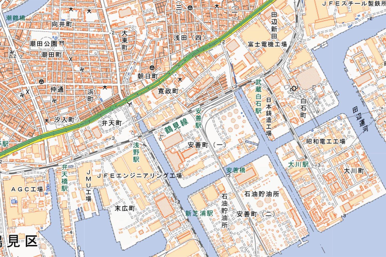 浅野駅、安善駅、武蔵白石駅周辺の地図。(国土地理院ウェブサイトより)