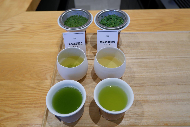 煎茶2種飲み比べ+お茶菓子1400円。