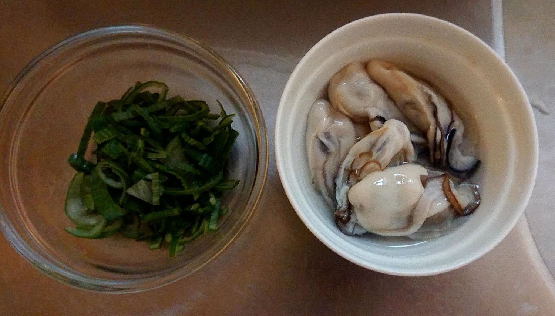 青ネギと牡蠣