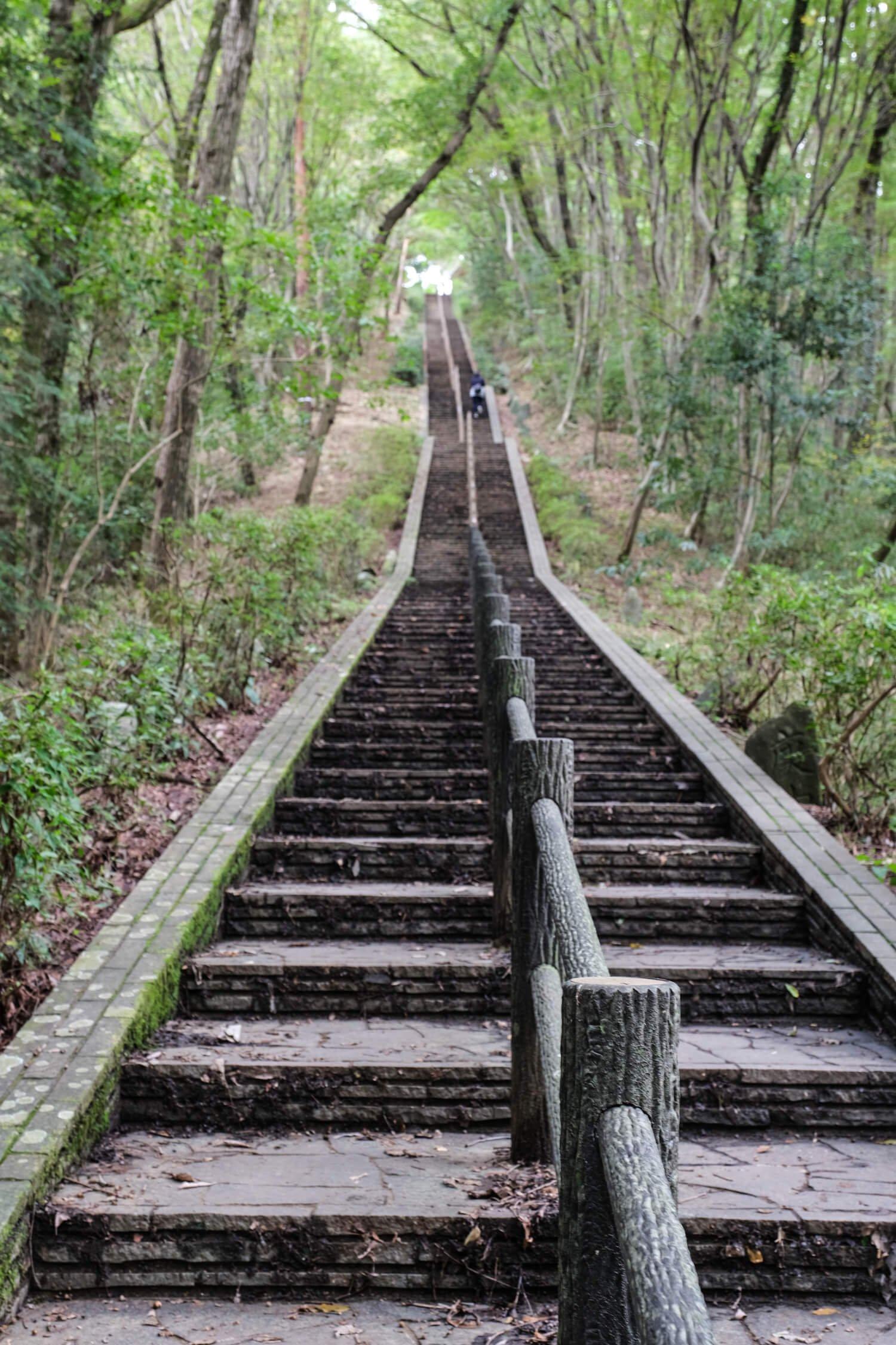 311段の階段が続く男坂を登りきれば庚申山山頂にたどり着く。