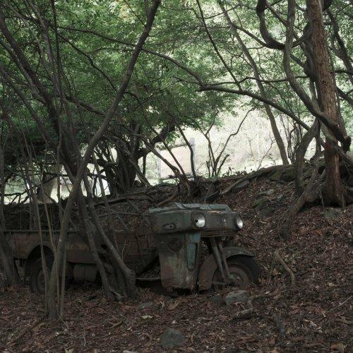 雑木林に同化しながら奥多摩湖のほとりで佇むオート三輪 ~廃なるものを求めて 第5回~