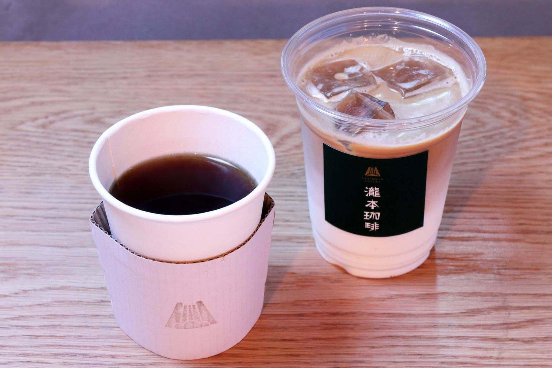 苦みの中にほのかな甘味がある瀧本珈琲ブレンド270円とカフェラテ340円。