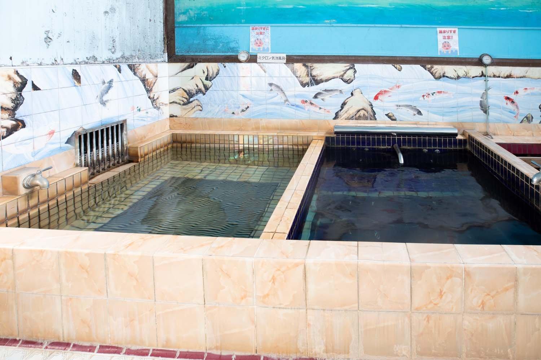 浴槽は薬湯以外に2つ。タイルに描かれた鯉の絵が美しい。