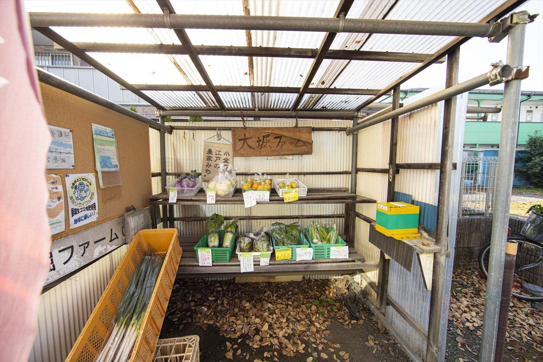 ケヤキの大木が目印。江戸東京野菜が豊富。減農薬だから虫食いもあるけど、しっかりうまい。西洋野菜のルバーブを使ったジャムもある。毎月第1日曜日には朝市「こがね市」が開かれ、野菜のほか焼き菓子や手作り小物なども販売。