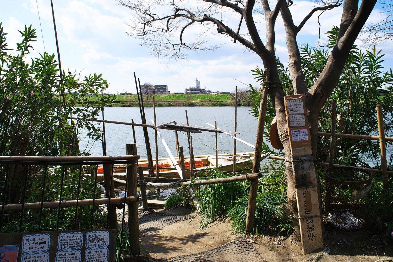 松戸側の渡し舟乗り場から対岸を眺める。右の建物が『川甚本館』で、左のマンション2棟の場所には10数年前まで『川甚』の日本庭園と離れがあった。