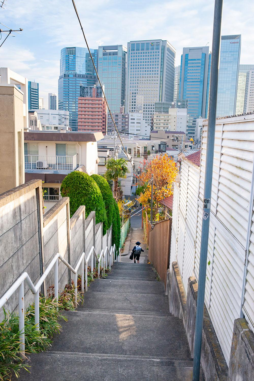 上からは、キヤノンやマイクロソフトなど品川の高層ビル群を眺望。細い階段と都市景観の対比がダイナミック。