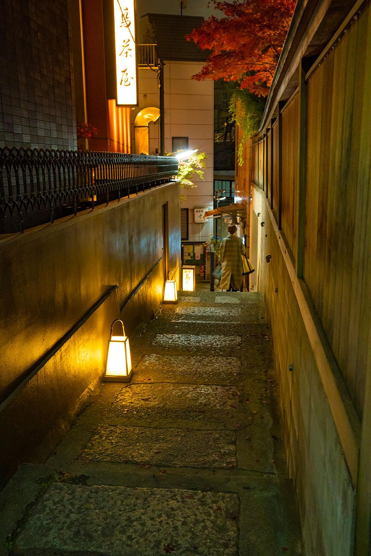階段へ続く石畳が、照明を優しく照り返す。これぞ神楽坂の趣。