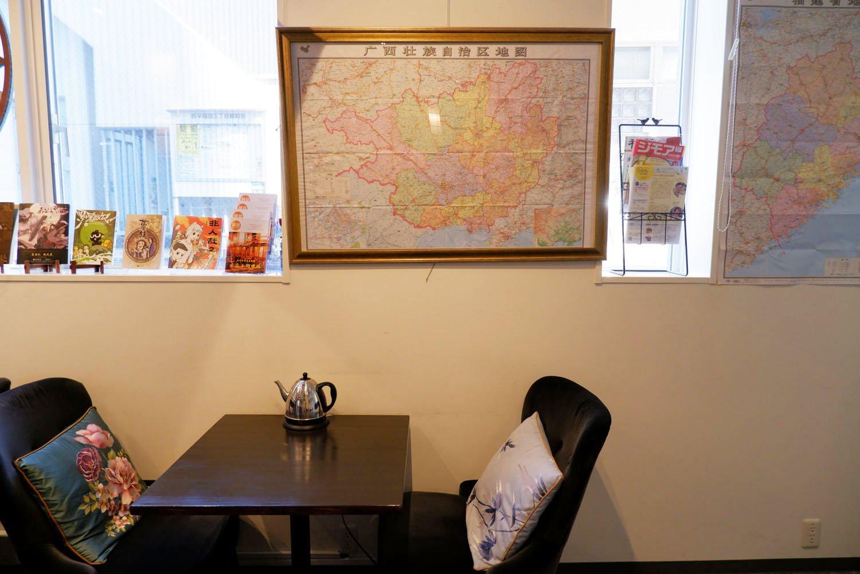 店内には中国各省の地図も。