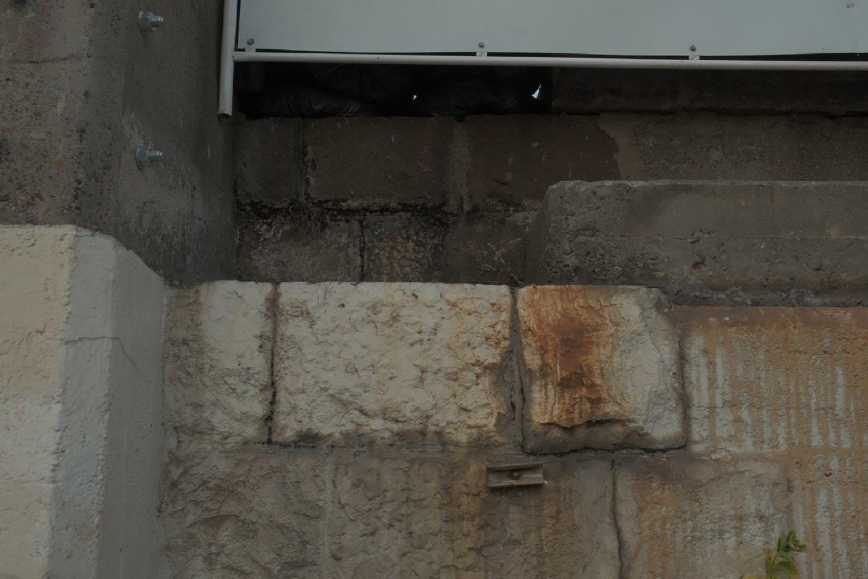 上写真の石垣部分をアップで。うーん、明治初期からの石垣かなぁ? 奥は石垣かブロック塀か判別できない。2021年2月撮影。