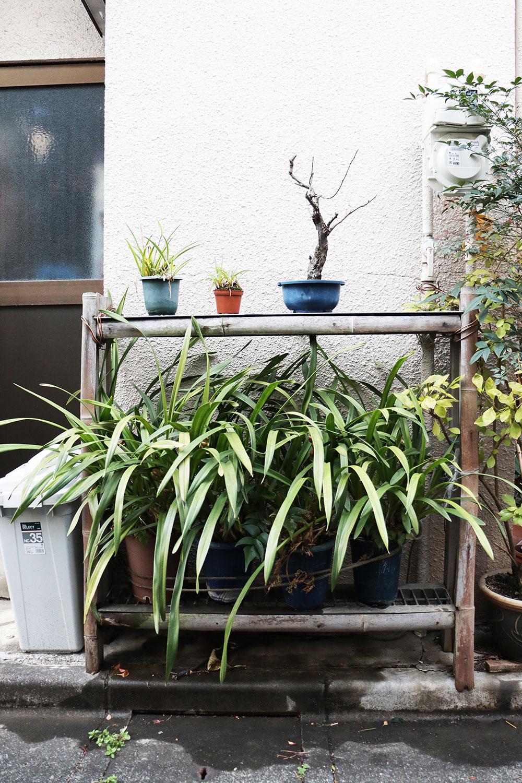 竹とグレーチング蓋を組み合わせたオリジナルの土台。